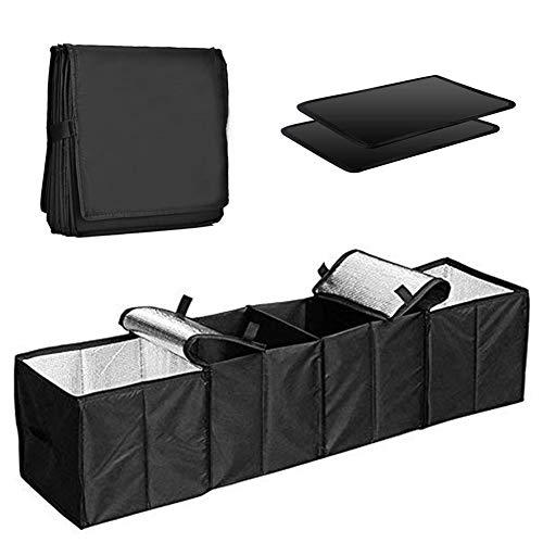 COZYSWAN Car Trunk Organizer Multi 4 Compartments Storage Basket and Cooler & Warmer Set, Black ()