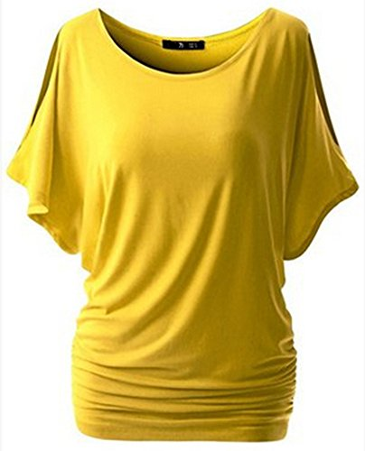 Manches D't Femmes Col Jaune Shirt Blouse Courtes Blouses Shirtshirt Rond Manches Beautisun Chemise Chemisier Chemise T AwqdPxax5