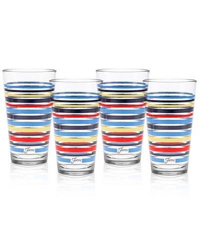 Fiesta Peacock Stripe Set of 4 Highball Glasses
