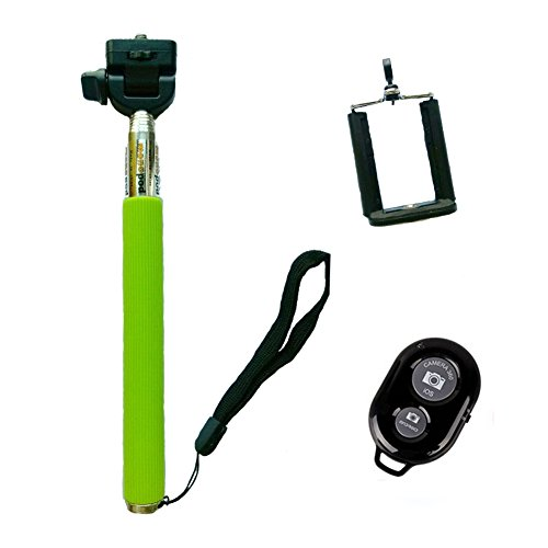BLUBOON(TM) Wireless Bluetooth Remote Camera Shutter + Extendable Handheld Stick Pole Monopod with Mount Holder for Android 4.1 or Newer and IOS 5.0 or Newer (Green with Black Remote)
