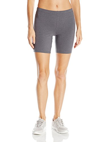 Hanes Women's Stretch Jersey Bike Short, Charcoal Heather, Large