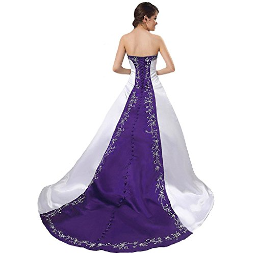 CuteShe Women' Satin A-line Embroidery Wedding Dresses Bridal Gowns White purple