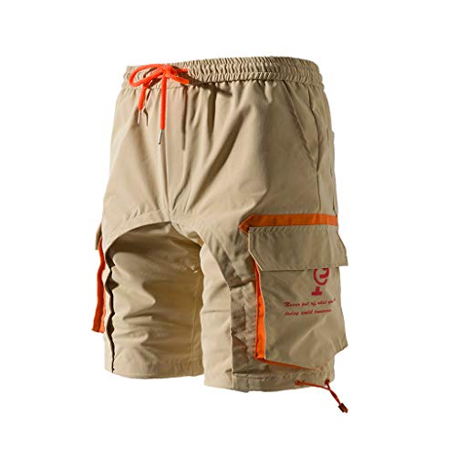 Outdoor Clothes Simayixx Men's Casual Pure Color Pockets Beach Shorts Trouser Cargo Short Pants Hiking Shorts Khaki ()