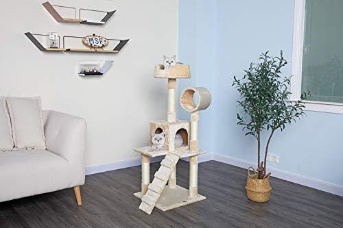 Go Pet Club F75 Tree Condo Scratcher Post Pet Bed Furniture, 50-Inch, Beige