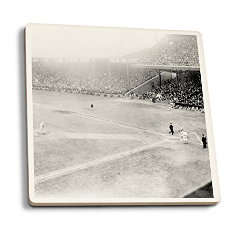 Lantern Press World Series, Giants at Phillies, Baseball - Vintage Photograph (Set of 4 Ceramic Coasters - Cork-Backed, Absorbent)