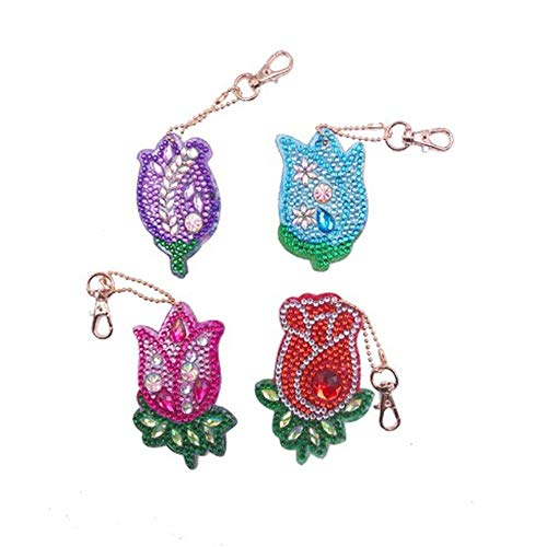 Diamond Celebrity Jewelry - DIY Diamond 4pcs Keychain Sets Painting Kits Pendants Full Drill Crystal Jewelry Hand Bag Backpack Accessories Metal Gift Roses Purple red Green