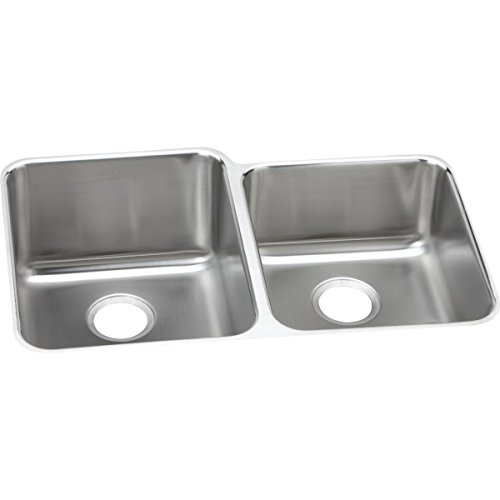 Elkay ELUH3120R Lustertone Classic Offset Double Bowl Undermount Stainless Steel Sink