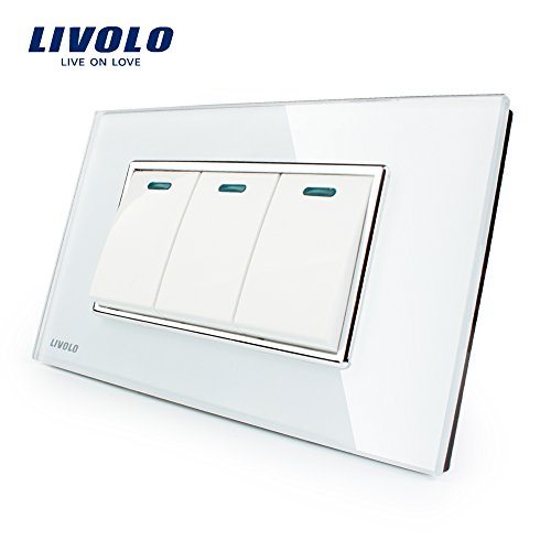 Manufacturer Livolo Luxury White Crystal Glass Panel, 3 Gang