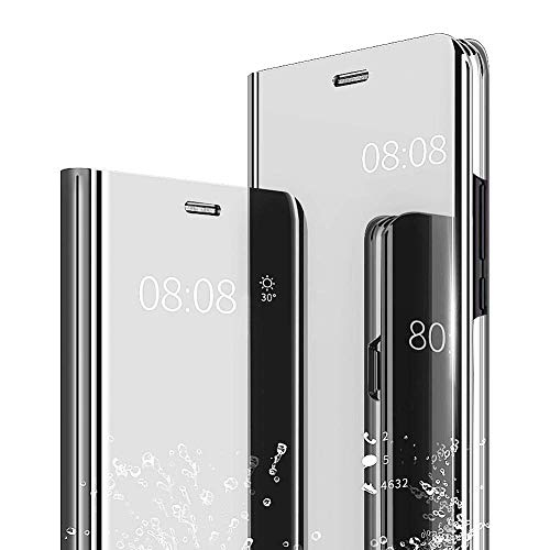- AIsoar Galaxy J7 2018 Case, Cover Mirror Smart Clear View Window Flip Case Slim Multi-Function Mirror Case S-View Stand flip Folio Full Body Protection Cover for Samsung Galaxy J7 2018 (Silver)