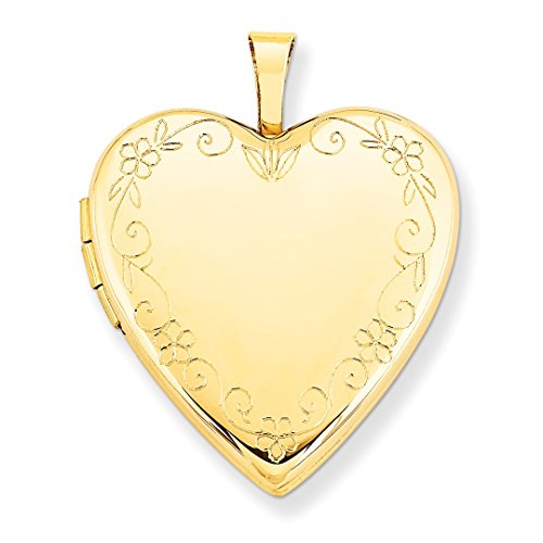 ICE CARATS 14kt Yellow Gold 20mm Flower Vine Border Heart Photo Pendant Charm Locket Chain Necklace That Holds Pictures Fine Jewelry Ideal Gifts For Women Gift Set From Heart
