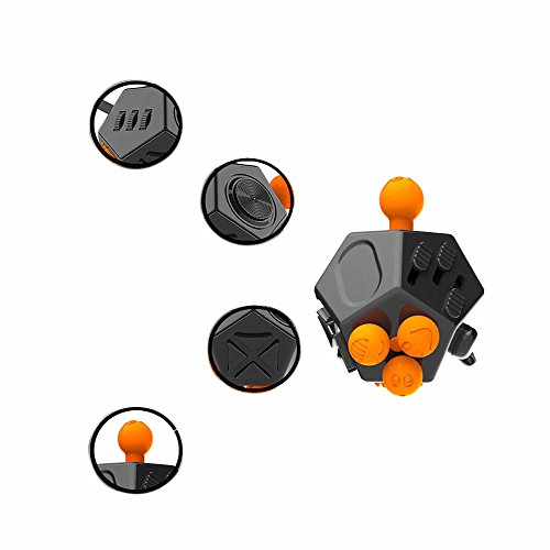 Fidget Cube 2 Anti Stress Cube Toy 12 Sides for Children and Adults-Black -