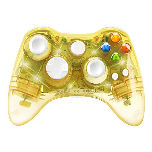 Wireless Game Controller for Microsoft Xbox 360 Console/PC Windows7/8/10-Trasparent Colorfull LED Lights (Yellow)