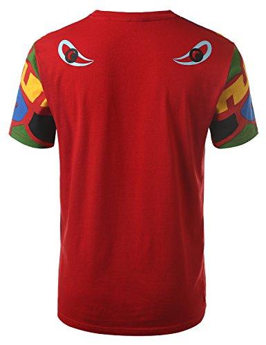 URBANCREWS Mens Hipster Hip Hop Neon Totem Crewneck T-shirt RED LARGE