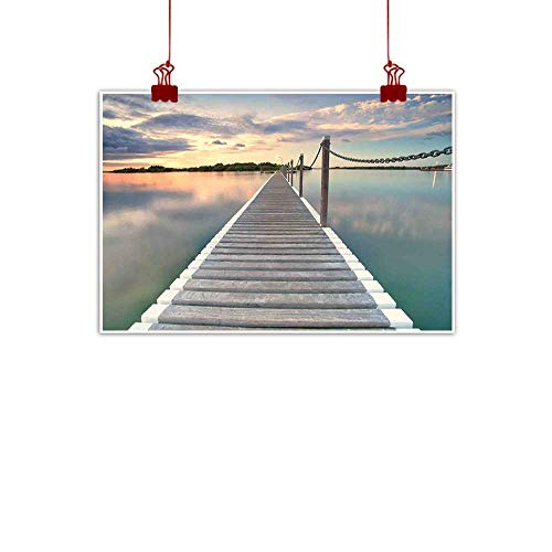 warmfamily Wall Painting Prints Ocean,Pontoon Jetty Pier Deck Across The Water at Dramatic Sunset with Idyllic View,Aqua Grey Peach 36