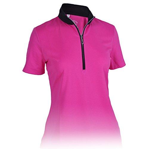 Monterey Club Ladies' Dry Swing Hi-Low Contrast Zipped up Collar #2325 (Raspberry/Black, Small) ()