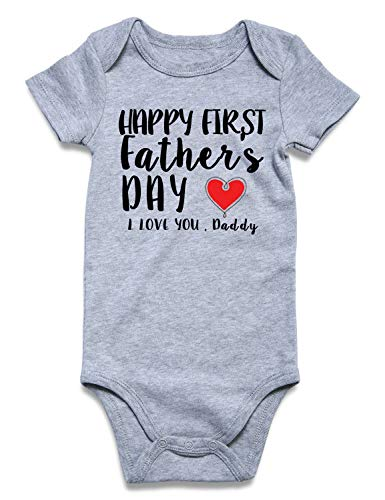 (Cutemefy Toddler Unisex-Baby Bodysuit Happy First Fathers Day Short Sleeve Newborn Romper Jumpsuit Breathable Print Infant Apparel(0-3 Months))