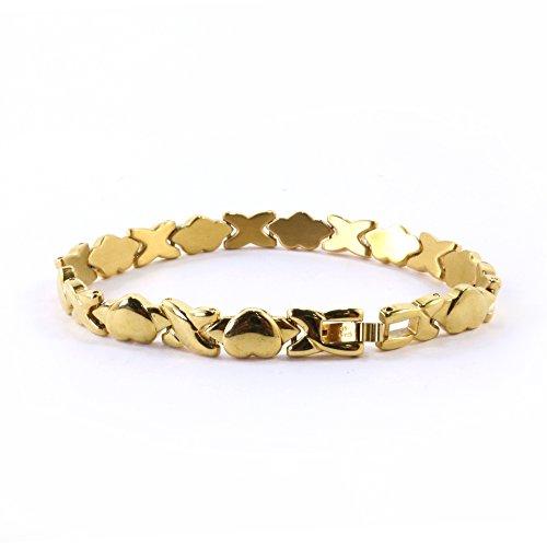 Hugs and Kisses en acier inoxydable Stampato Ensemble collier et bracelet Doré