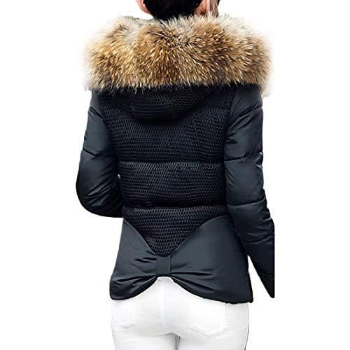 Nero Inverno Alto Cerniera Femminile Paragrafo Cappotto Pelliccia Vestibilità Collo Muchao Di Breve Slim zR7q8T