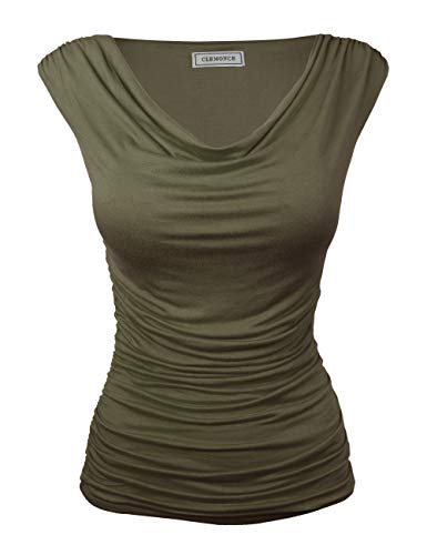 CLEMONCE Women's Cowl Neck Casual Ruched Sleeveless Tops for Work SAGE M