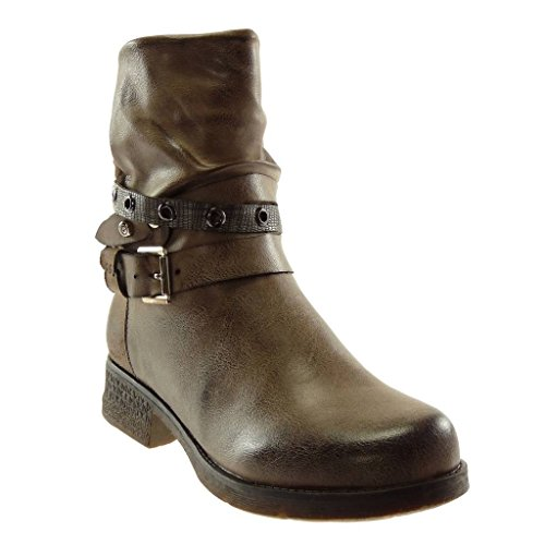 Fashion Vintage cm Women's Buckle Khaki Style 3 Multi Biker Block Shoes 5 Straps bi Material Ankle Perforated Boots Angkorly Booty Heel qzp5q