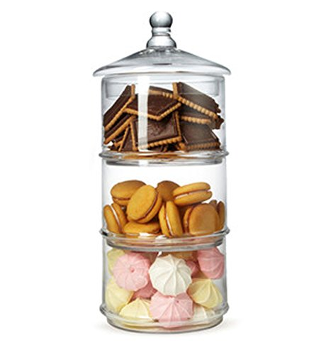 MyGift 3 Tier Stacking Apothecary Jars, Round Glass Candy and Cookie Dishes