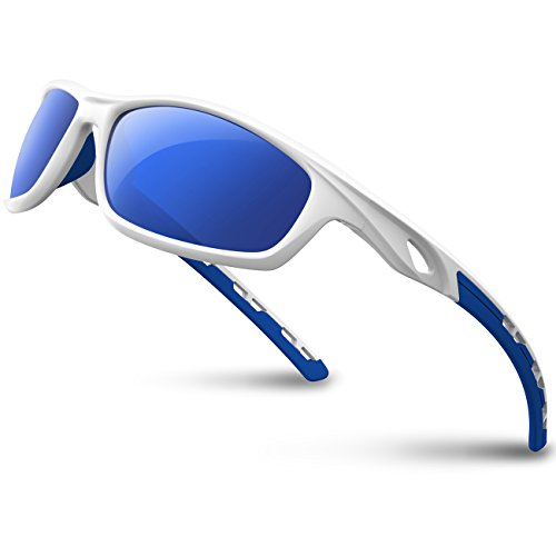 RIVBOS Polarized Sports Sunglasses Driving Sun Glasses Shades for Men Women Tr 90 Unbreakable Frame for Cycling Baseball Running Rb833 (White&Blue)