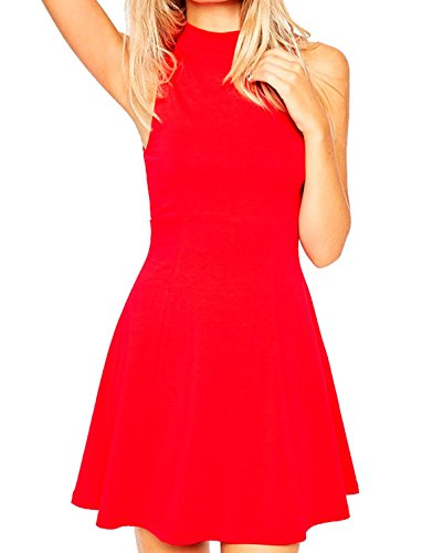 Face N Face Women's Chiffon High Neck Sleeveless Empire Mini Dress X-Large Red