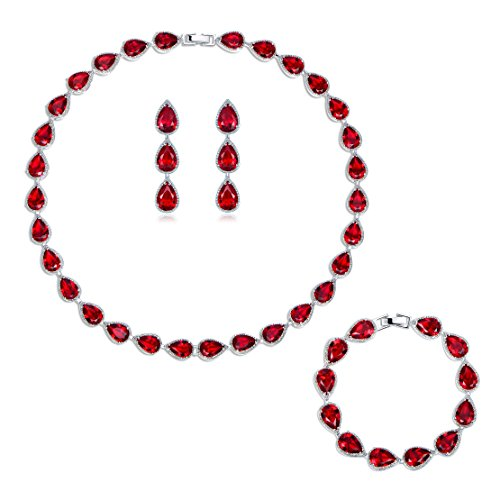 (GULICX Silver Plated Base Ruby-Color Red 3 Jewelry Set Bracelet Necklace Earrings Women Wedding Party)