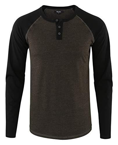 Estepoba Mens Athletic Regular Fit Long Sleeve Active Henley Shirt Baseball Tee H.Charcoal/Black ()