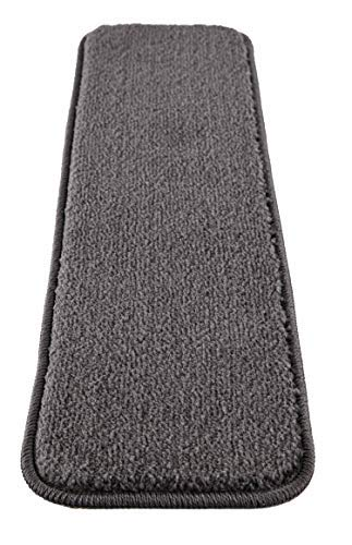 Mod-Arte | Solo Collection | Stair Treads | Modern &Contemporary | Solid Colors | Rubber Backing Non-Slip | Charcoal | Set of 7 | 8.5 inches x 30 inches (30 Inch Runner)