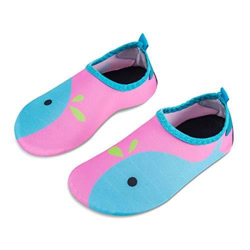 Kids Water Swim Shoes Barefoot Aqua Socks Shoes Quick Dry Non-Slip Baby Boys & Girls (Whale-Light Blue, 18/19)
