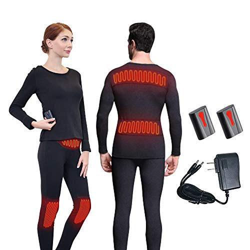 Heated Battery Clothing - J-Jinpei Winter Electric Thermal Underwear Set Knee Pads Waist Intelligent Temperature Control Rechargeable 3000mAh Lithium Battery for Indoor, Skiing, Fishing,Travel,Camping Outdoor Sports Unisex M