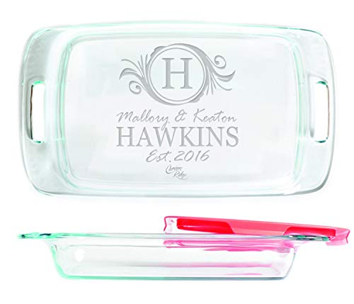 (Engraved Glass Baking Dish with Lid 9x13 - Personalized - Name with Monogram Badge )