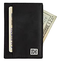 Dapper Hide Slim Leather Card Holder Wallet - Gift Box Included - The Maxwell (Black Leather / Black Thread)