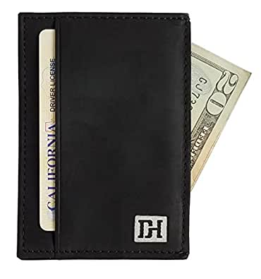 Mens Wallets - Credit Card Holder Front Pocket Wallets for Men - Thin Slim Leather Wallets for Men (Black Leather / Black Thread)