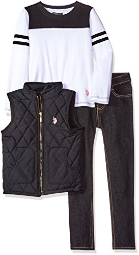 U.S. Polo Assn. Little Girls' Diamond Quilt Puffer Vest, Long Sleeve T-Shirt and Stretch Denim Jean, Black, 6X