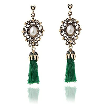 911a1e4ec Buy Manvik Ethnic Oxidised Gold Pearl Green Cotton Thread Tassel Long  Earring For Women And Girls Online at Low Prices in India   Amazon  Jewellery Store ...