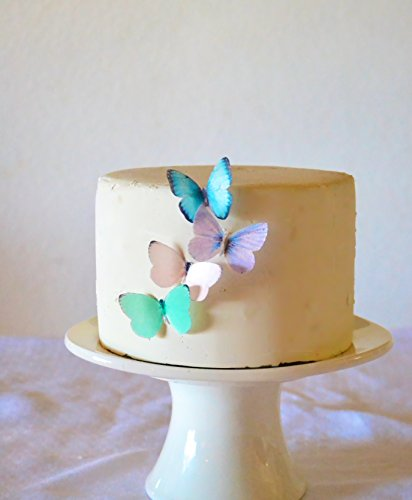 Edible Butterflies © - Small Assorted Pastel Set of 24 - Cake and Cupcake Toppers, Decoration ()