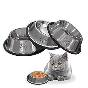 YHmall 3 Piezas Comedero Gato y Perro, Bebedero Gatos Acero Inoxidable Antivuelco y Antideslizante Pequeños(10.5cm x15cm x3cm)