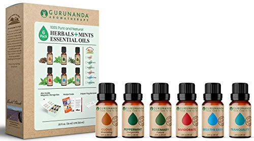 GuruNanda Herbals + Mints Essential Oils Set - Pure & Natural Therapeutic Grade Oil for Aromatherapy Diffuser - Clove - Peppermint - Rosemary - Invigorate - Breathe Easy - Tranquility