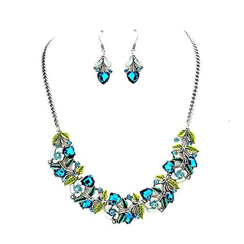Joji Boutique Silver & Vivid Teal Floral Bejeweled and Enameled Necklace & Earrings Set