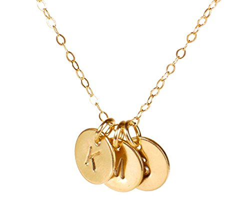 EFYTAL Three Initial Necklace, 3 Dainty Gold Filled Personalized Initials of Your Choice -