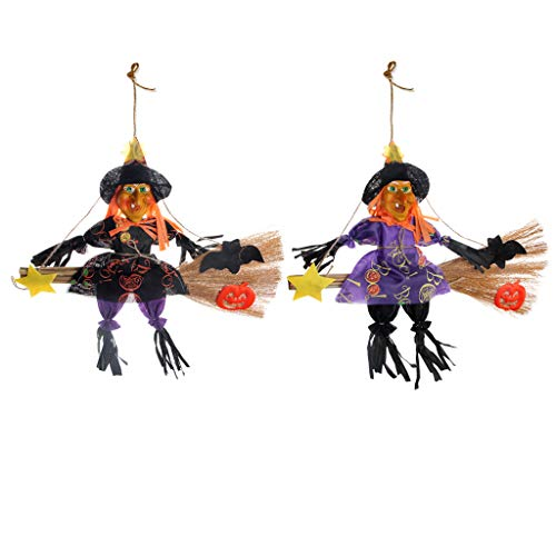 - AIPINQI Halloween Scarecrow Hanging Decorations, 2 Pack Witch Broom Door Wall Decoration Autumn Thanksgiving Decoration Props Ornaments Pendant for Halloween Party School Home Bar Garden,L