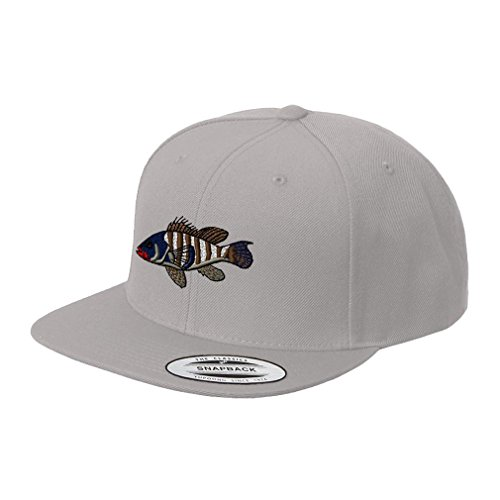 Sea Bass Embroidered Flat Visor Snapback Hat Silver (Bass Visor Embroidered)