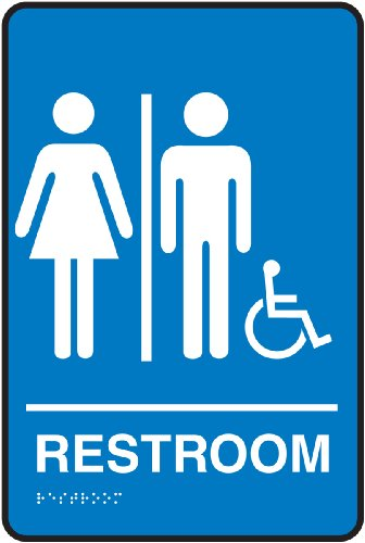 """Accuform Signs PAD102BU Plastic ADA Braille Tactile Sign, Legend """"RESTROOM"""" with Unisex/Wheelchair/Handicapped Accessible Graphic, 9"""" Length x 6"""" Width x 1/8"""" Thickness, White on Blue"""