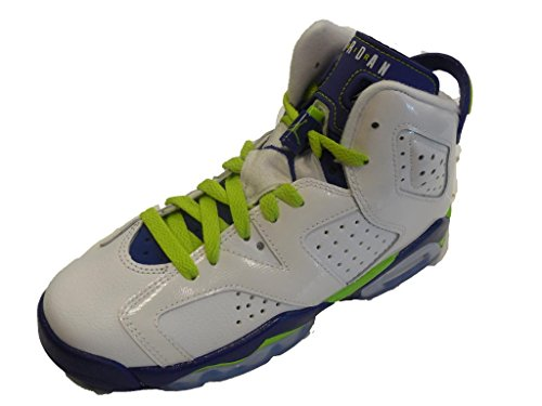 JORDAN 6 Retro Big Kids Style, White/Frc Green/Dp Royal Blue Hyper Pink, 4 by NIKE