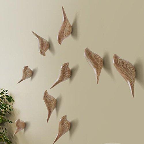 YOHEE 3D Creative Wall Decoration Bird Mural Bedroom Door Hooks Coat Hooks Single Hooks Wall Hanger (Wood - 3 Pcs) by YOHEE (Image #3)