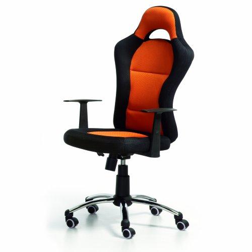 duehome - Silla de Oficina Estilo Deportivo, Silla de Oficina, Silla Gaming, Modelo Formula, Color Naranja, Medidas: 115-125 cm (Alto)