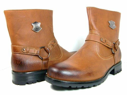 Polar Fox By Delli Aldo Mens Brown Calf High Biker Riding Style Fashion Boots Size 10