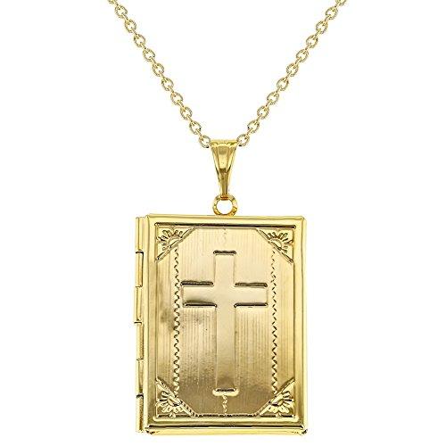 Bible Locket Pendant - In Season Jewelry Cross Religious Holy Bible Photo Locket Remembrance Pendant Necklace 19